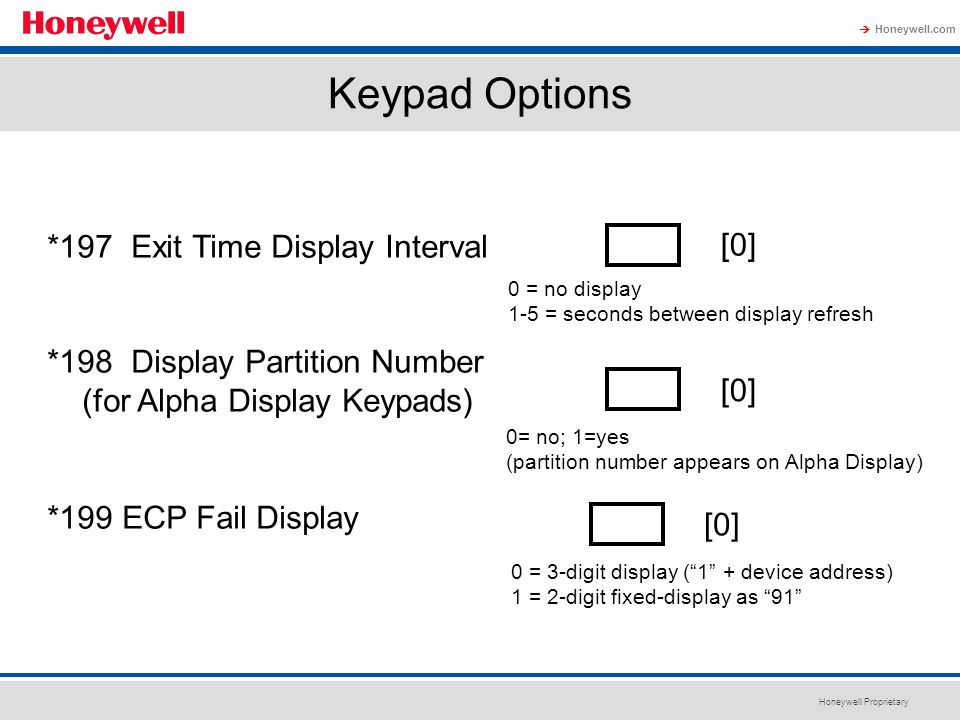 Keypad Options *197 Exit Time Display Interval [0]